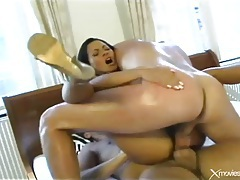 Two cocks up her asshole at the same time tubes