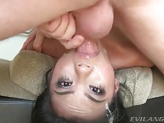 Face fucked whore has spit all over tubes