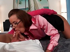 Hot chick in glasses and satin blouse sucks cock tubes