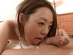 Young japanese cocksucker goes down on his dick tubes