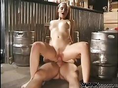 Horny redhead with a hot body rides her man tubes