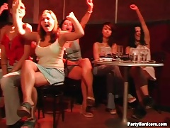 Ladies suck on dildos in the middle of a party tubes