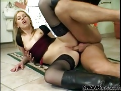 Leather boots and black stockings on doggystyle anal slut tubes