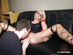 Eating out his sexy girlfriend in leather top tubes