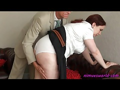 Older guy abuses her ass and thighs with reeds tubes