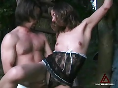 Bound girlfriend outdoors fucked in her pussy tubes