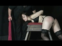 Flogger makes this hot bound girl feel pain tubes