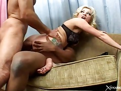 Tattooed ass on a blonde in double penetration tubes