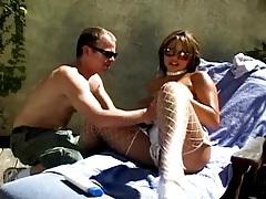 Motor boating a curvy girl in white lingerie tubes