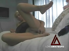 Hot and sexy blonde fucks pussy with a toy tubes