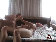 Curvy girl takes a ride on her chubby man for orgasm tubes