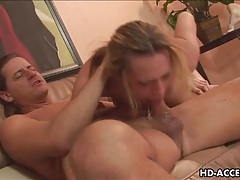 Horny milf gags on huge cock tubes
