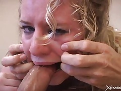 Cute blonde with curly hair gives loving blowjob tubes