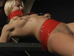 Stunning blonde spanked and whipped tubes