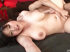 Curvy japanese gal bounces on his hard cock tubes