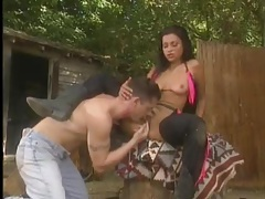 Cowboy and cowgirl have oral sex outdoors tubes