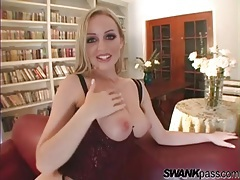 Panties and corset look sexy on a big tits blonde tubes
