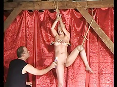 Shaved head sub girl tied up and tortured tubes