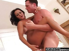 Tanned gal with a big ass has a ride on his boner tubes