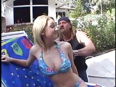 Blonde takes off her bikini and sucks a dick tubes