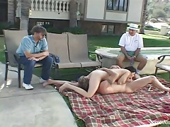 Wife takes a sexy creampie as the hubby watches tubes