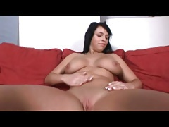 Stripping curvy brunette has amazing natural tits tubes