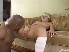 She takes shaft of the black man inside her cunt tubes