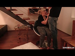 Chubby blonde in skintight pants sucks and smokes tubes