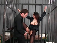 Prison sex with a busty girl in black stockings tubes