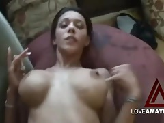 Fucking big cock into her slender body on the couch tubes