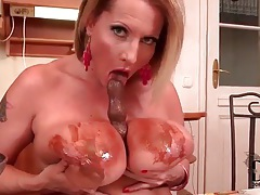 Chocolate sauce is sexy on big natural tits tubes