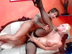 Slut in heels and stockings spreads legs for anal tubes