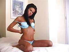 Blue satin bra and panties on tight teenager tubes