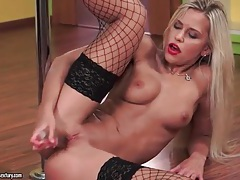 Solo blonde in red lipstick and black fishnets tubes