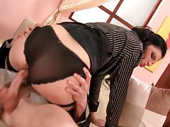 Panties and a sexy blouse on hot cock rider tubes