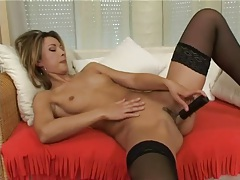 Small titty girl dildo fucking in sexy black stockings tubes