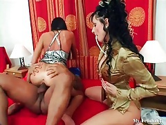 Black cock serves hot euro girls in threesome tubes