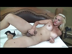 Shemale beats off her sexy boner lustily tubes