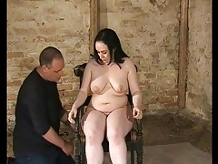Bound in basement and flogged over her body tubes