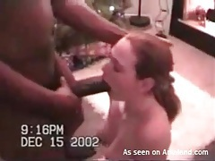 Wife sucks huge black cock on christmas tubes