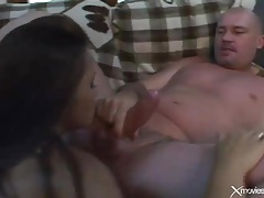 Asian deepthroats dick fresh from her asshole tubes