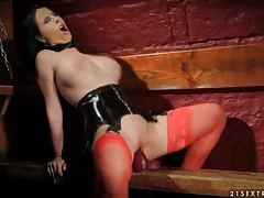 Black leather corset on sexy dildo fucking girl tubes