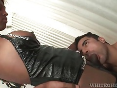 Shemale black cock stuffs his ass deep tubes