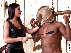 Black guy in bondage abused by mistress tubes