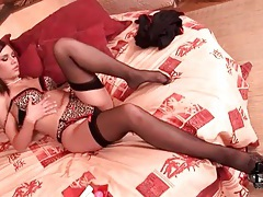 Stockings and animal print lingerie on babe tubes