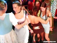 Dancing beer girls at oktoberfest party tubes
