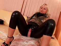 Leather pants girl grinds her body on his cock tubes