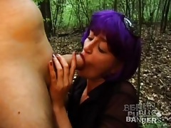 Total slut bends over in woods for sex tubes
