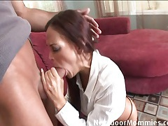 Brunette cougar takes covered in cum tubes