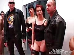 Anal gangbang slut takes cumshots on her tubes